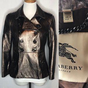 Burberry Lambskin Bronze Metallic Jacket 6 slimfit